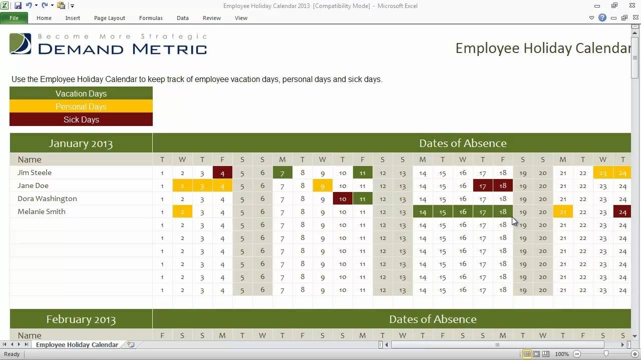 Employee Holiday Calendar Template 2013