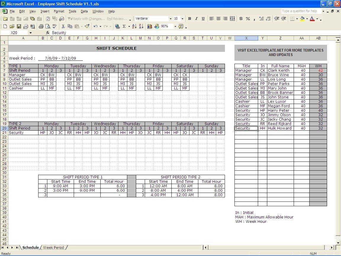 Employee Schedule Maker » Exceltemplate