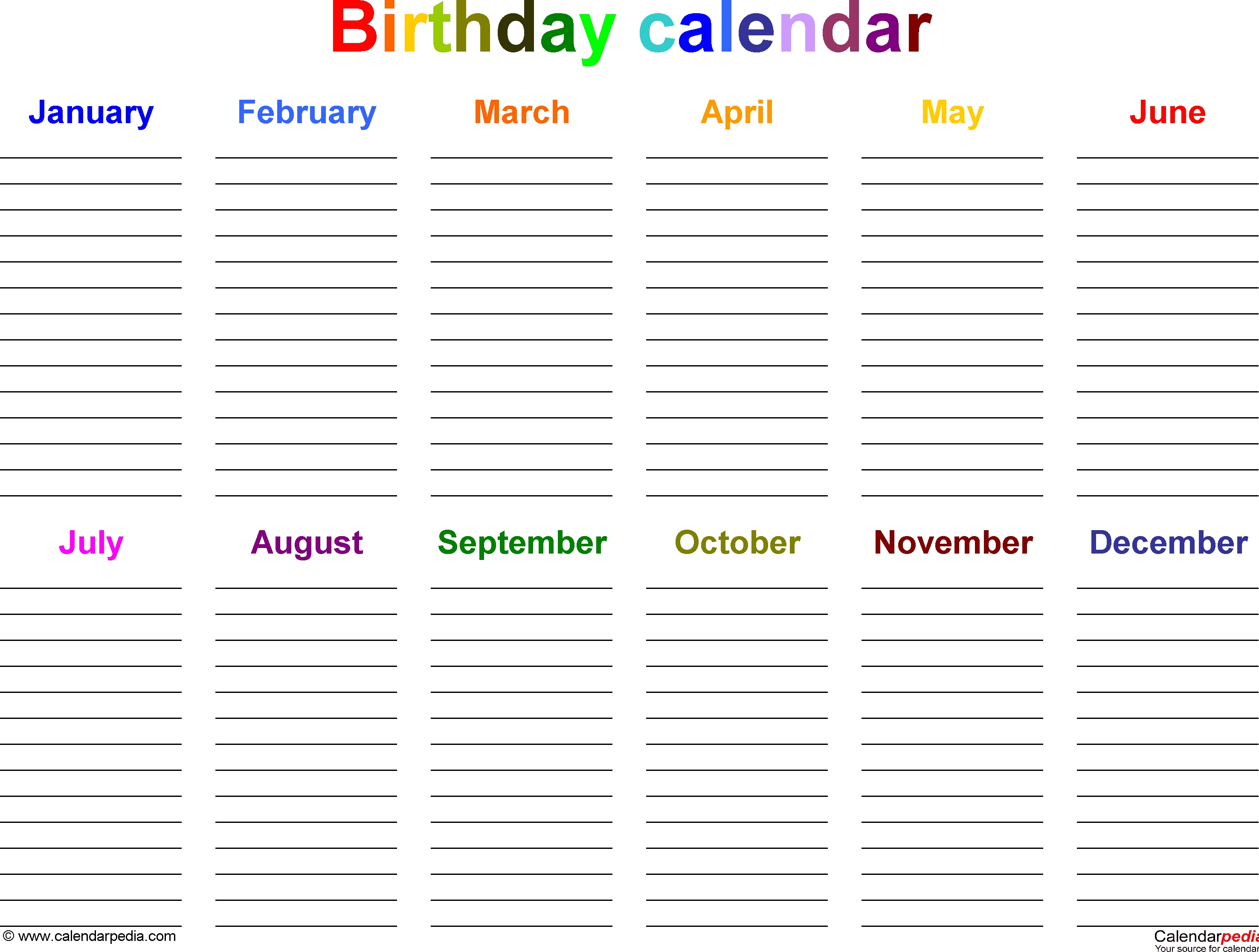 Excel Template For Birthday Calendar In Color (Landscape