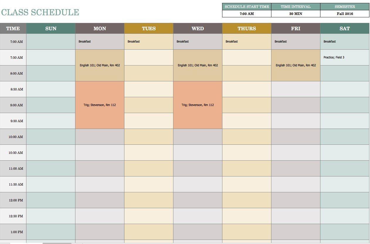 Excel Weekly Calendar Template