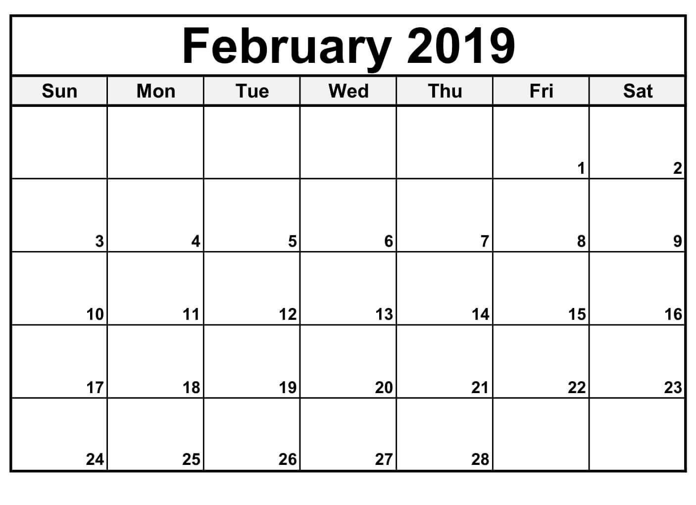 February 2019 Calendar Editable (With Images) | Blank