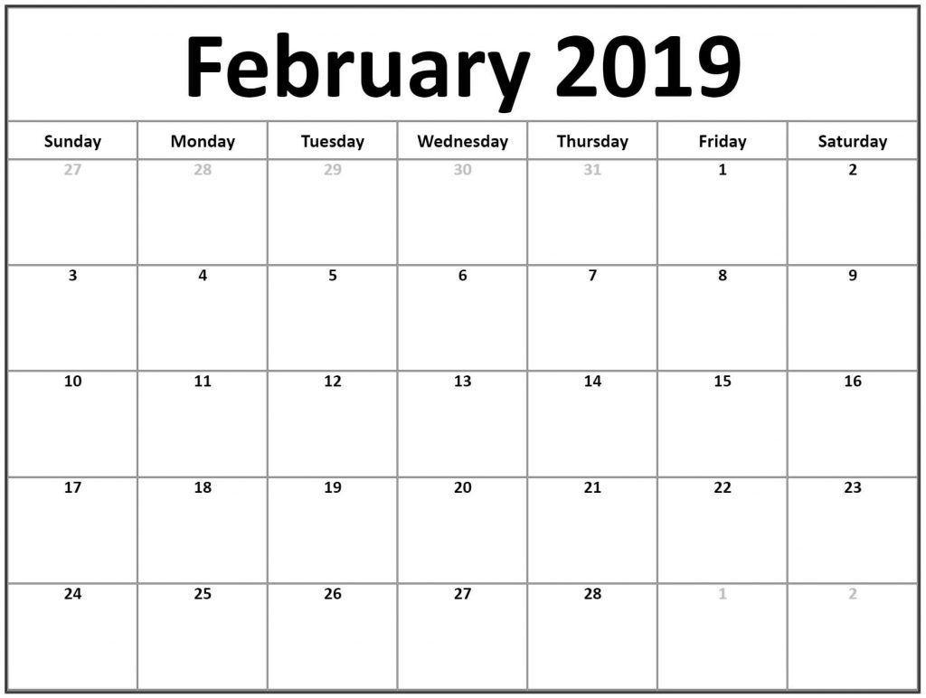 February 2019 Calendar Fillable | Monthly Calendar Printable