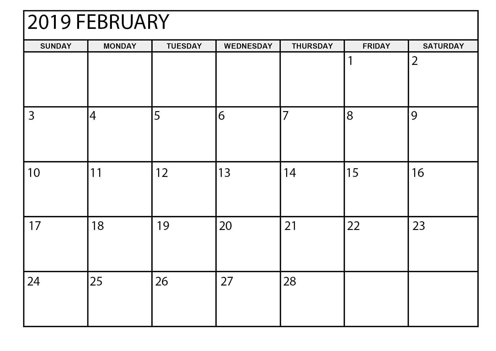 February 2019 Calendar Printable Large | August Calendar