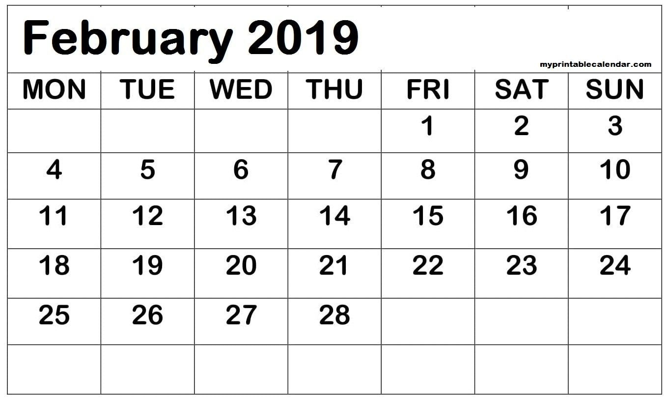 February 2019 Printable Calendar Date Range (With Images