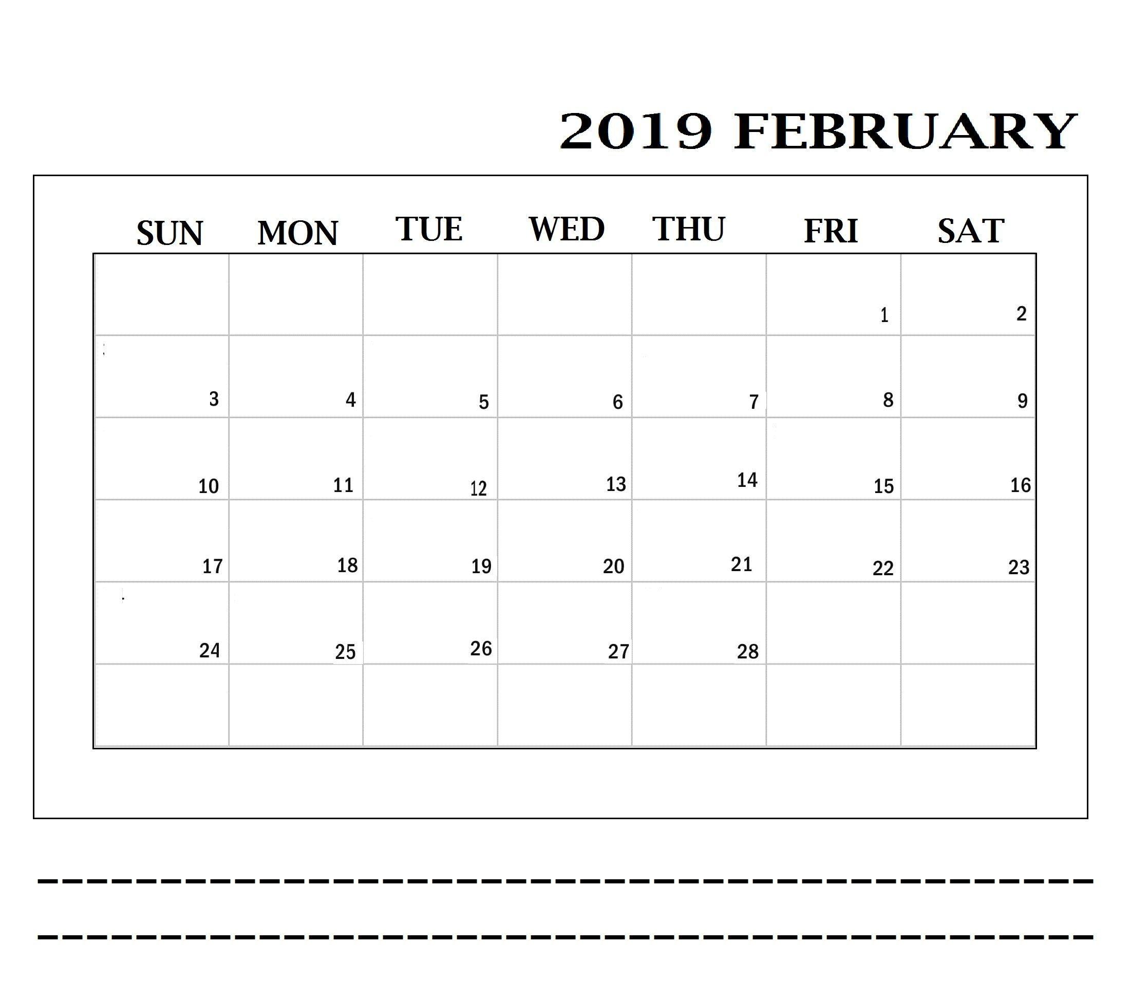 February 2019 Printable Calendar Date Ranges | Printable