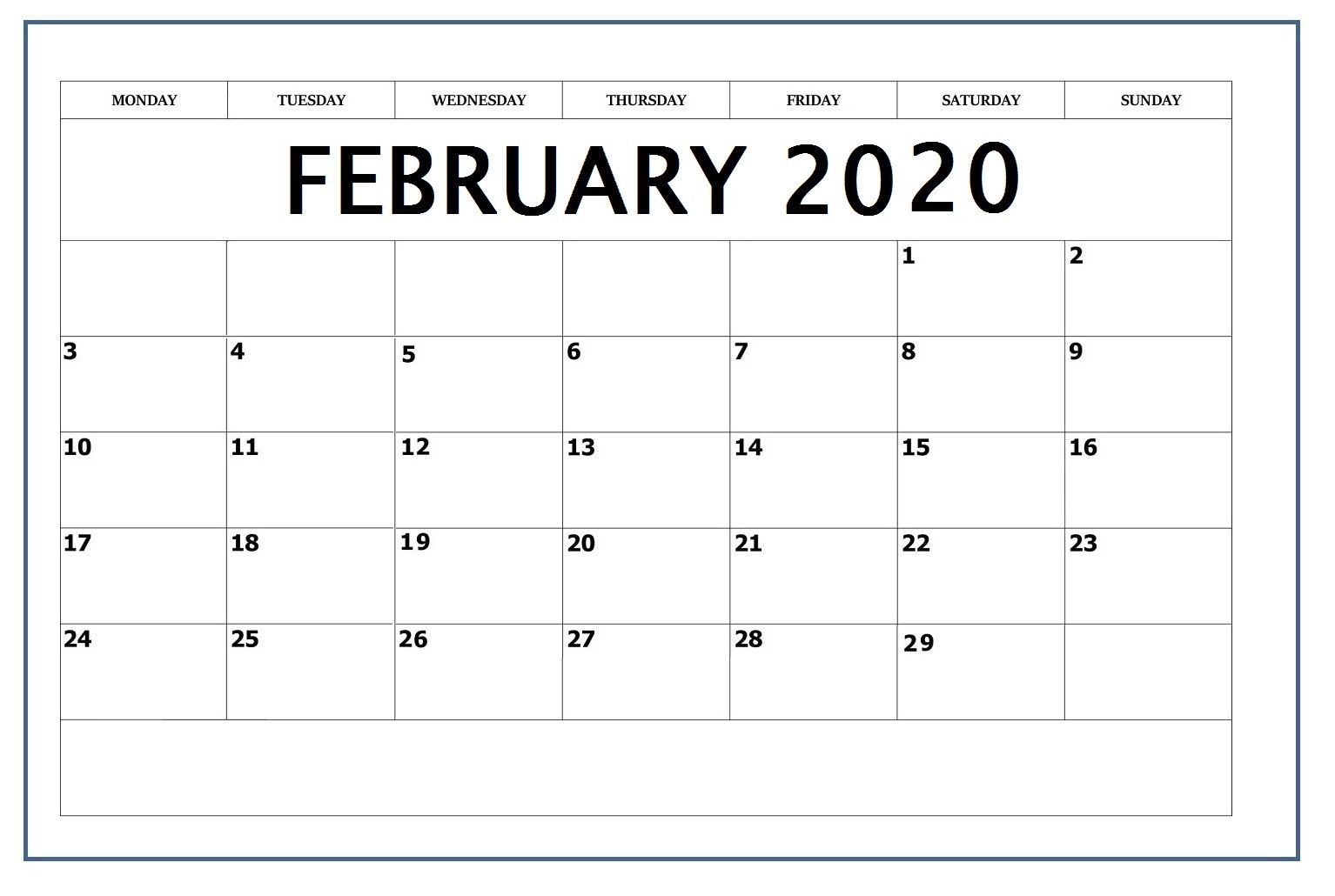 February 2020 Editable Calendar In 2020 (With Images