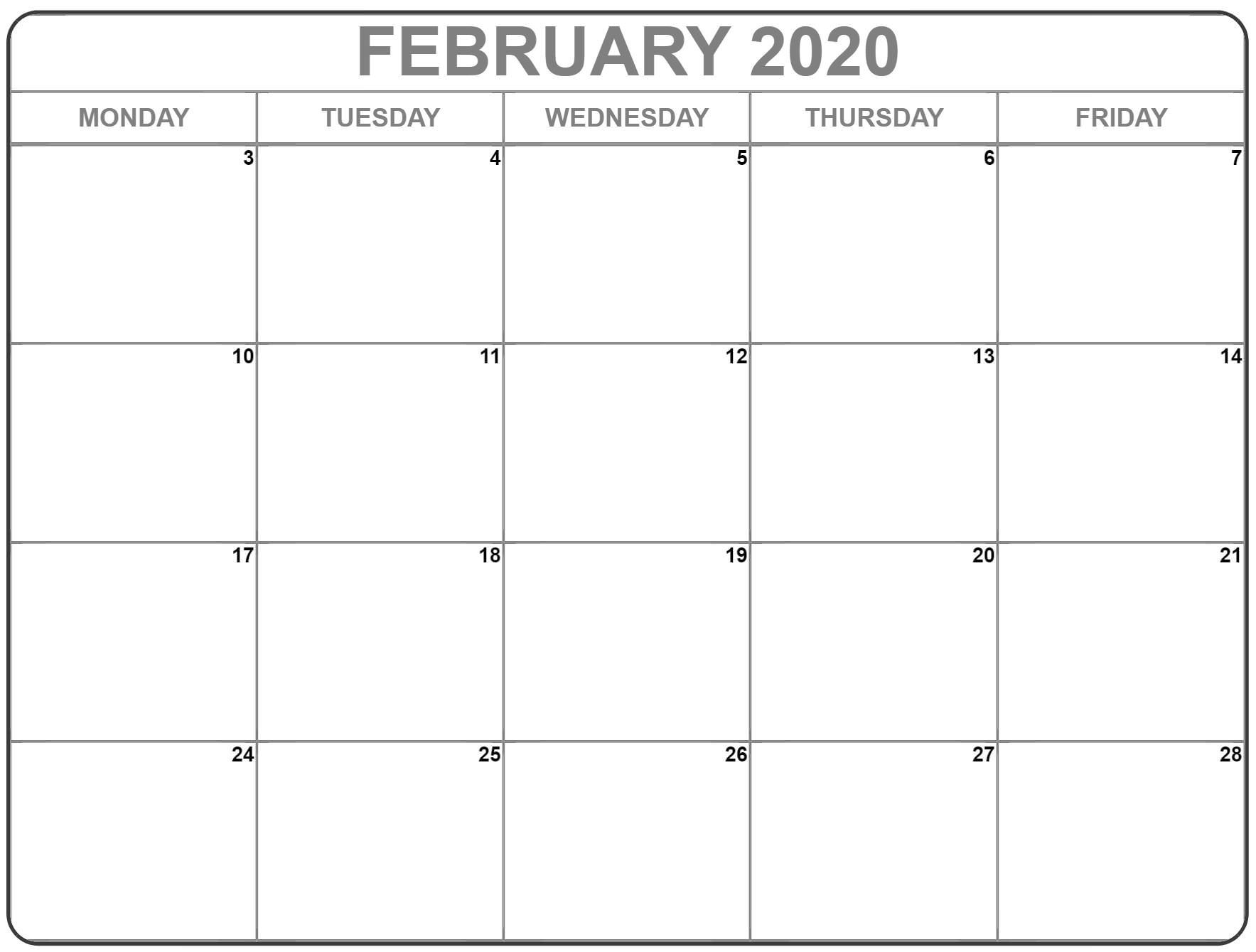 February 2020 Monday Calendar | Monday To Sunday