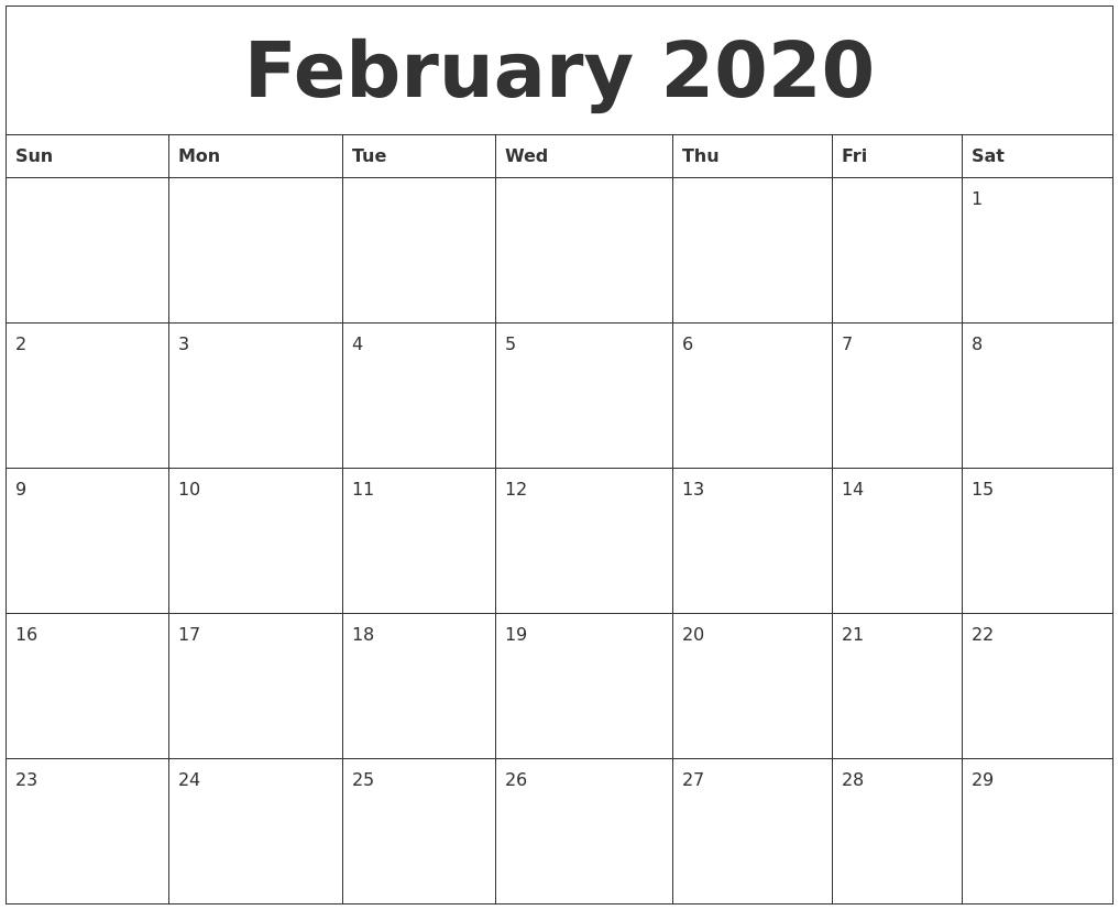 February 2020 Word Calendar