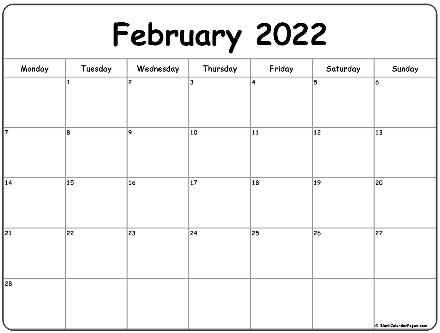 February 2022 Monday Calendar   Monday To Sunday
