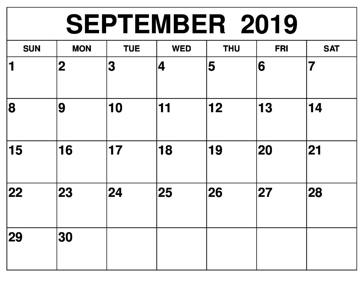 Fillable Calendar For September 2019 Printable With Large