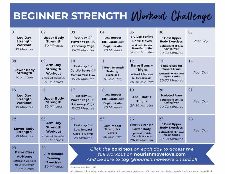 Fitness Challenge: 30-Day Beginner Workout Plan | Nourish