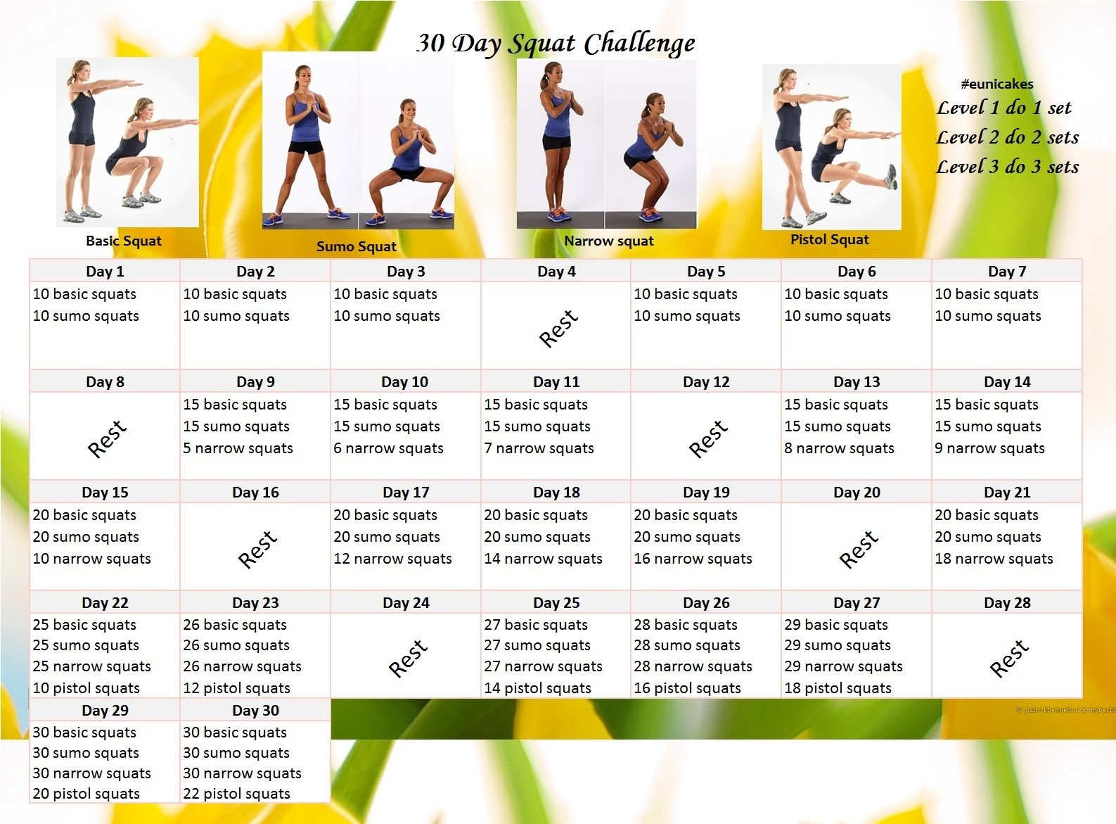 Fitness Challenge: 30 Day Squat Calendar Challenge | Eunicakes