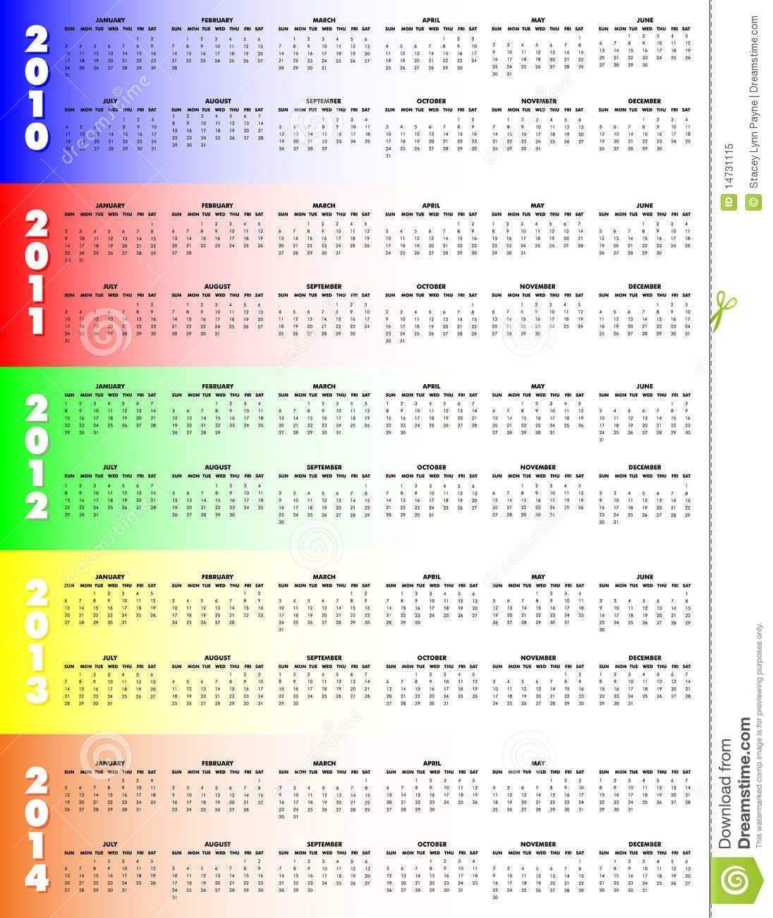 Five-Year Calendar 2010-2014 - Stock Vector - Illustration