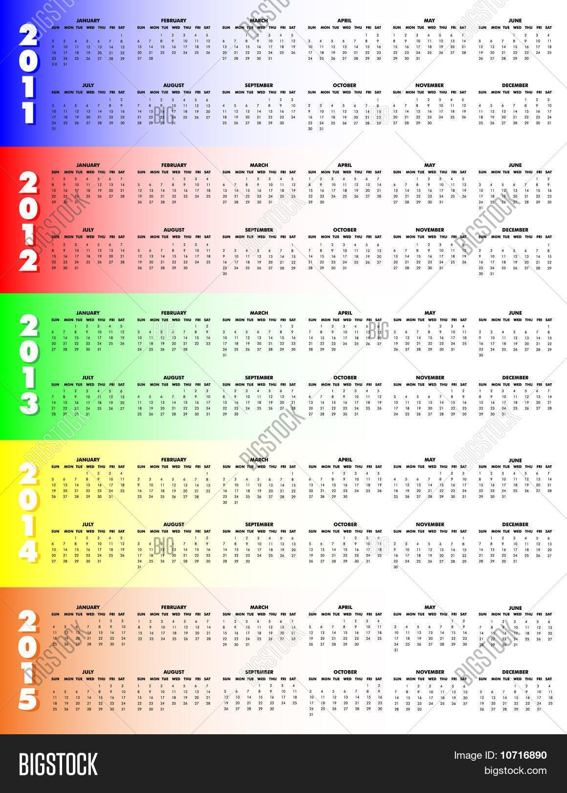 Five-Year Calendar Vector & Photo (Free Trial)   Bigstock