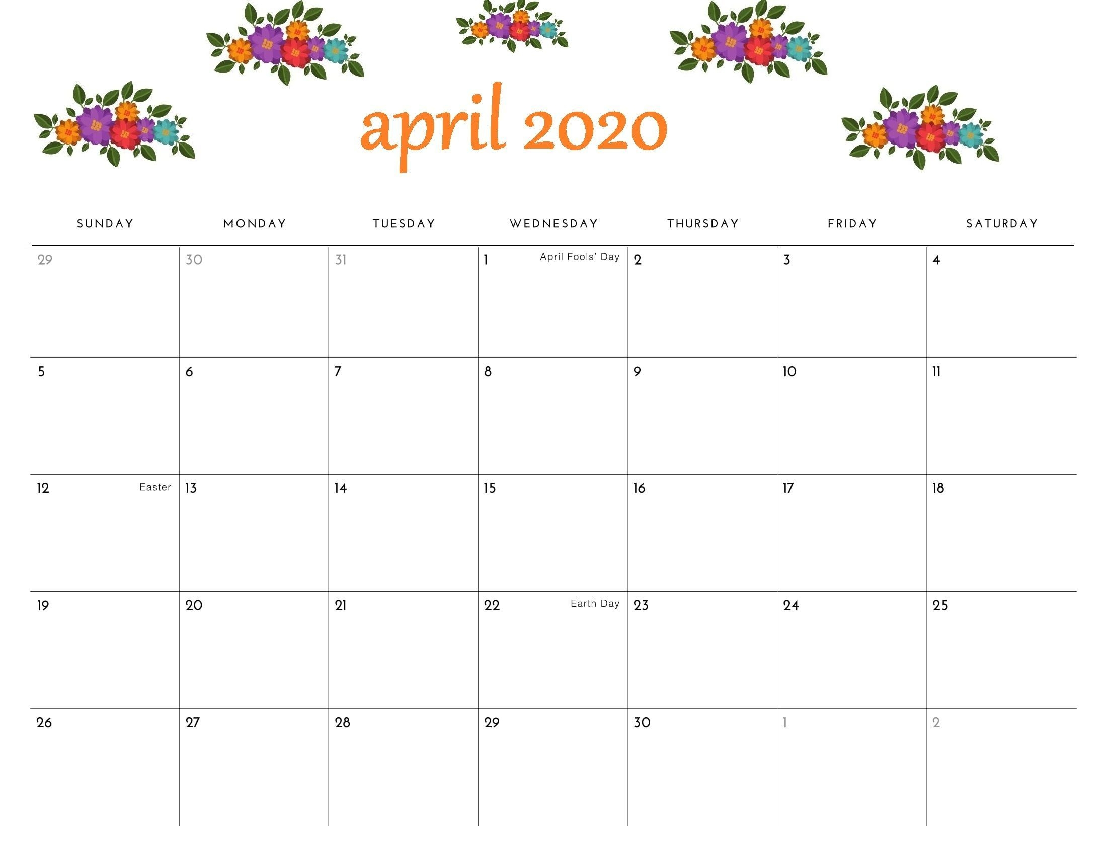 Floral April 2020 Calendar Cute - Desk And Wall Wallpaper In