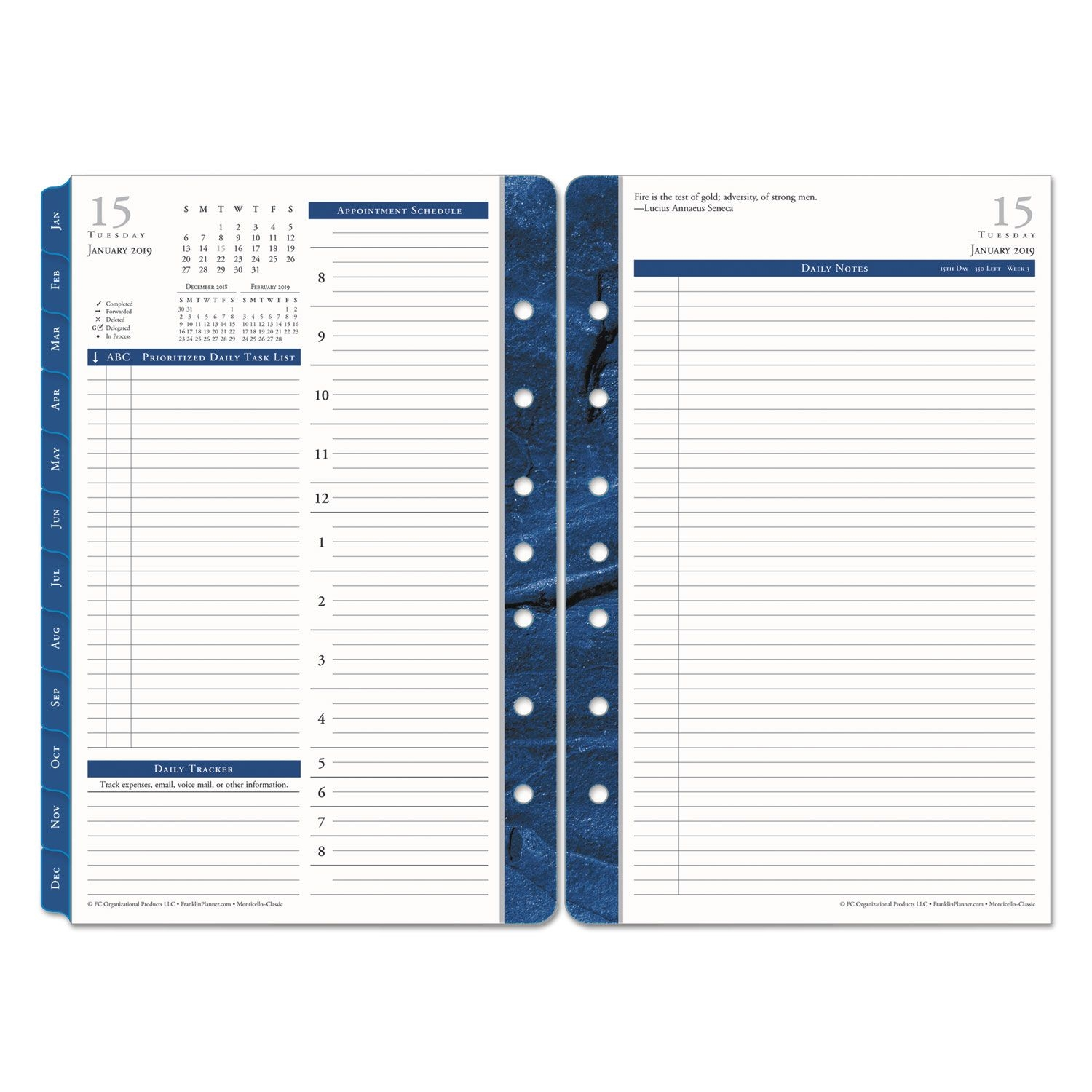 Franklincovey Monticello Dated Two-Page-Per-Day Planner Refill, 5 1/2 X 8  1/2, 2019