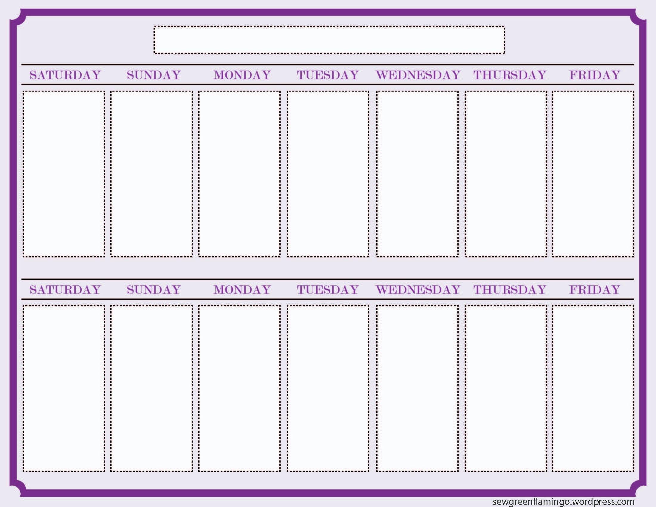 Free 2 Week Blank Printable Calendar Calendar 2018 Design