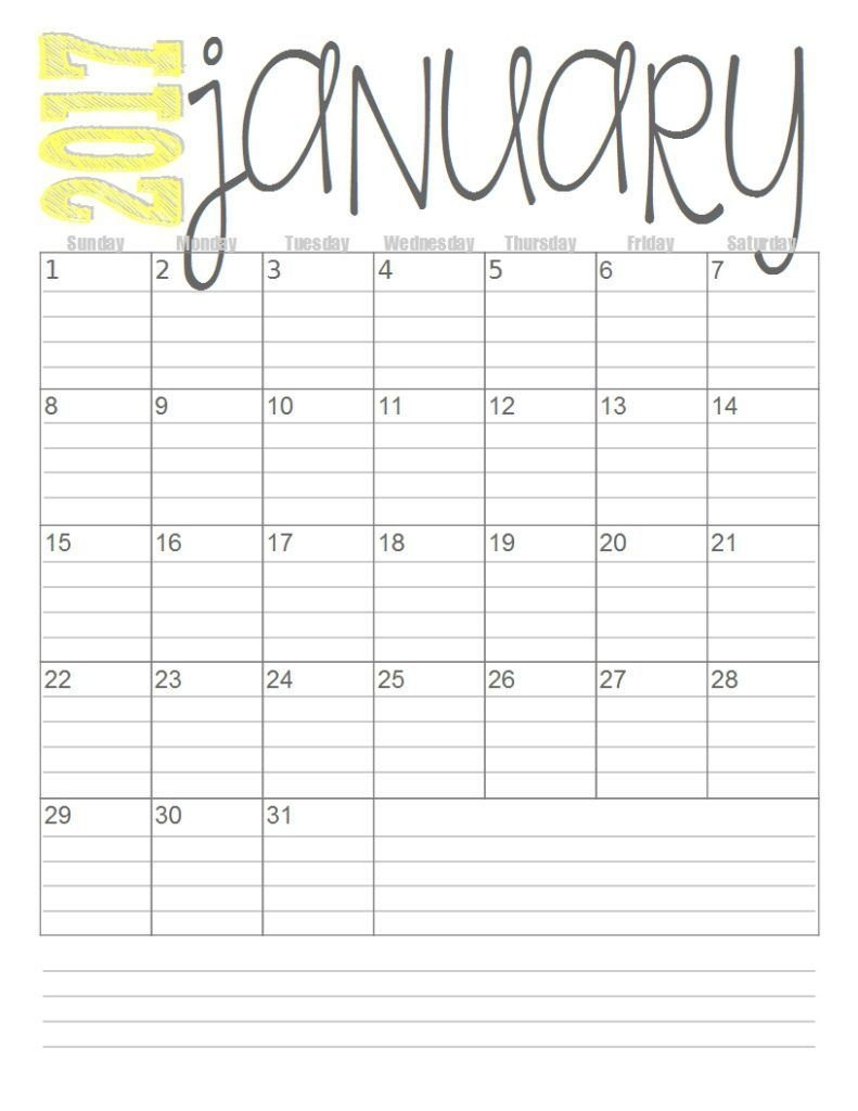 Free 2017 Monthly Calendars (With Images) | Free Printable