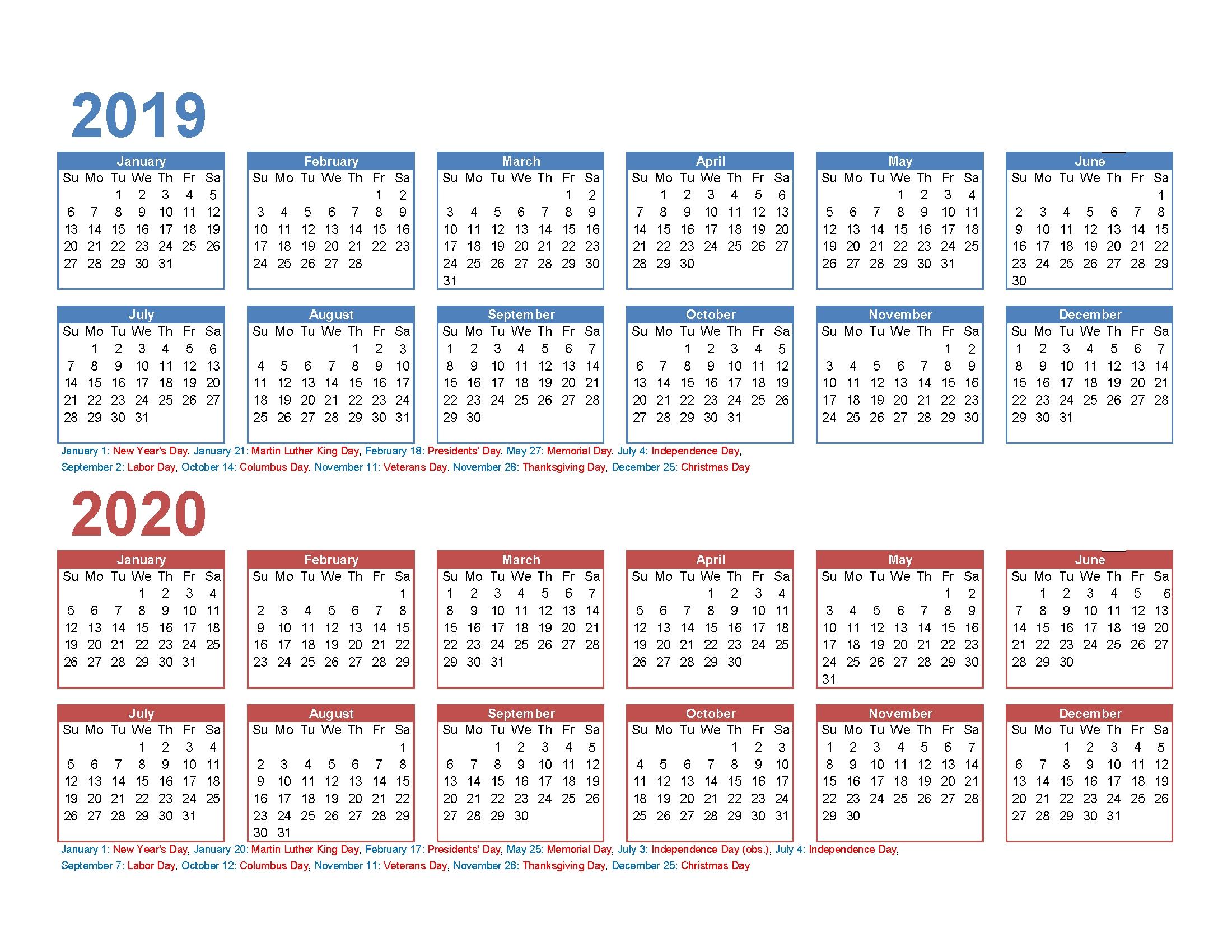 Free 2019 And 2020 Calendar Printable 2 Year Calendar | Free