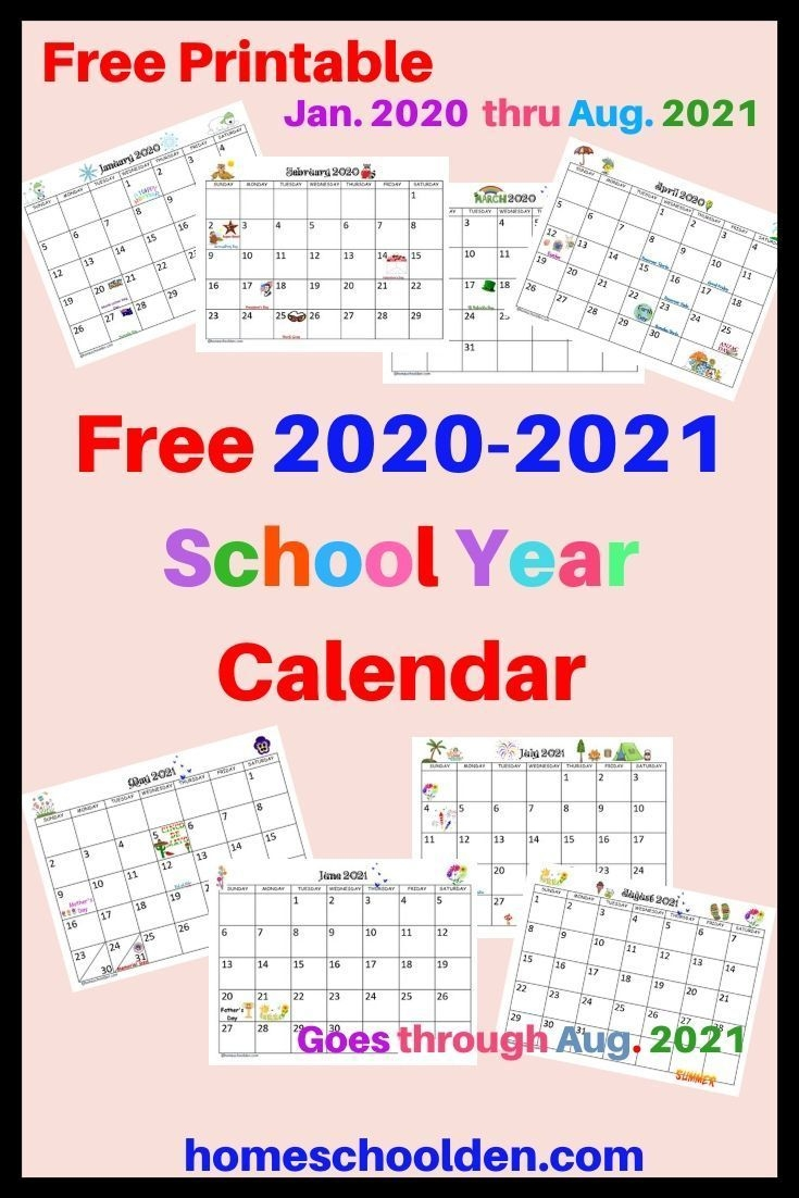 Free 2020-2021 Calendar Printable (With Images) | School
