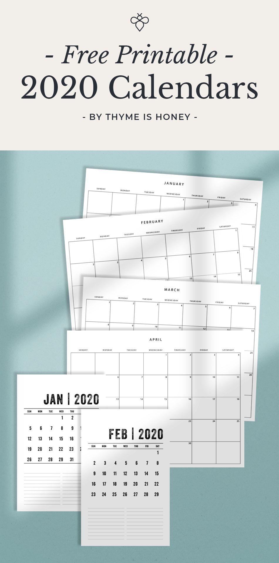 Free 2020 Calendars - Thyme Is Honey