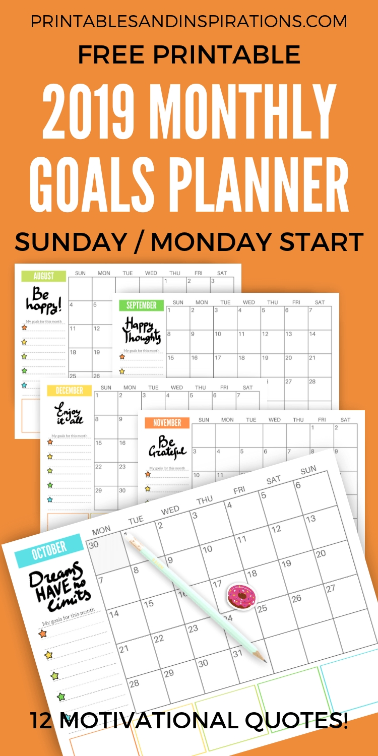 Free 2020 Monthly Goals Calendar Printable (With Images