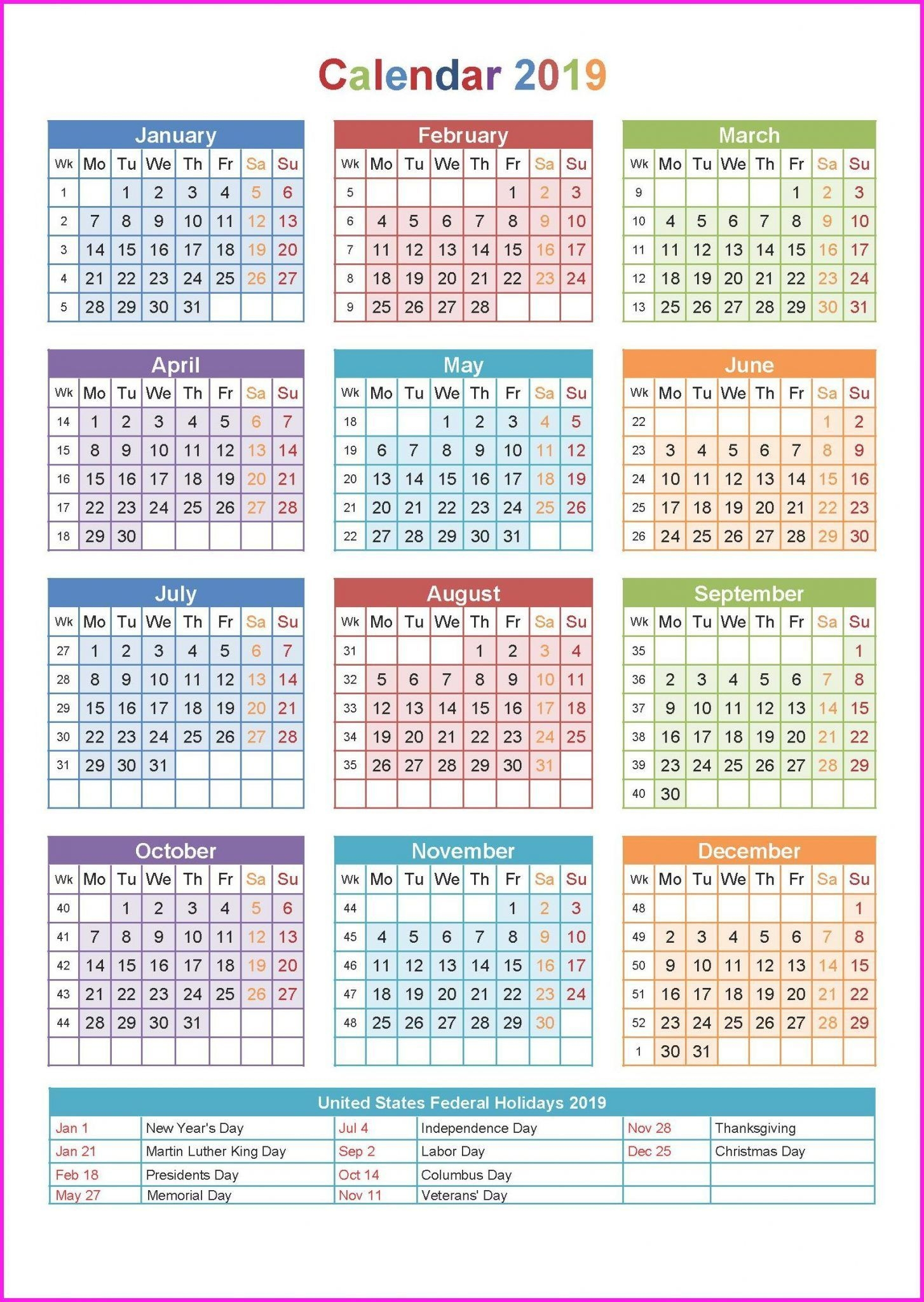 Free 2020 One Page Calendar Printable Download (With Images
