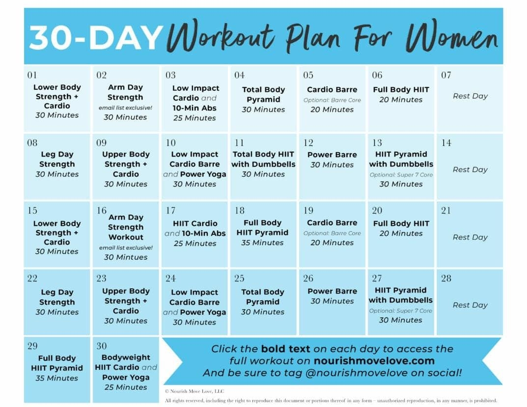 Free 30-Day Home Workout Plan | Nourish Move Love