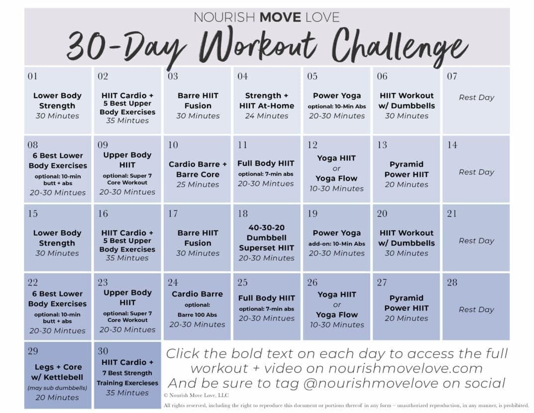 Free 30 Day Workout Challenge + Workout Calendar |Nourish