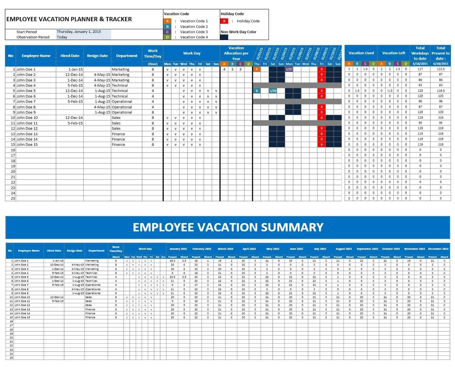 Free Annual Leave Spreadsheet Excel Template Uk Schedule