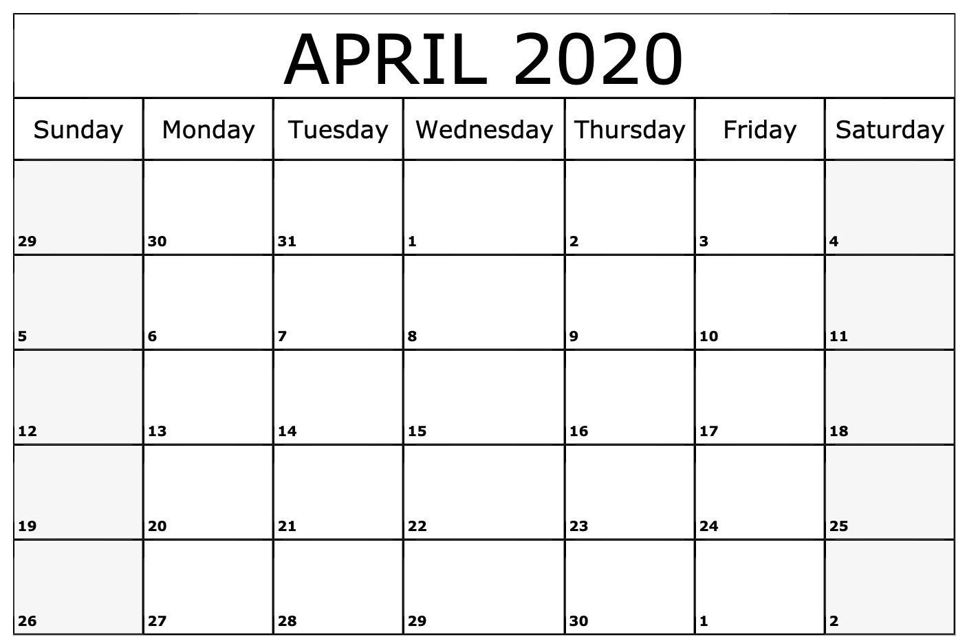 Free April 2020 Calendar Pdf, Word, Excel Template