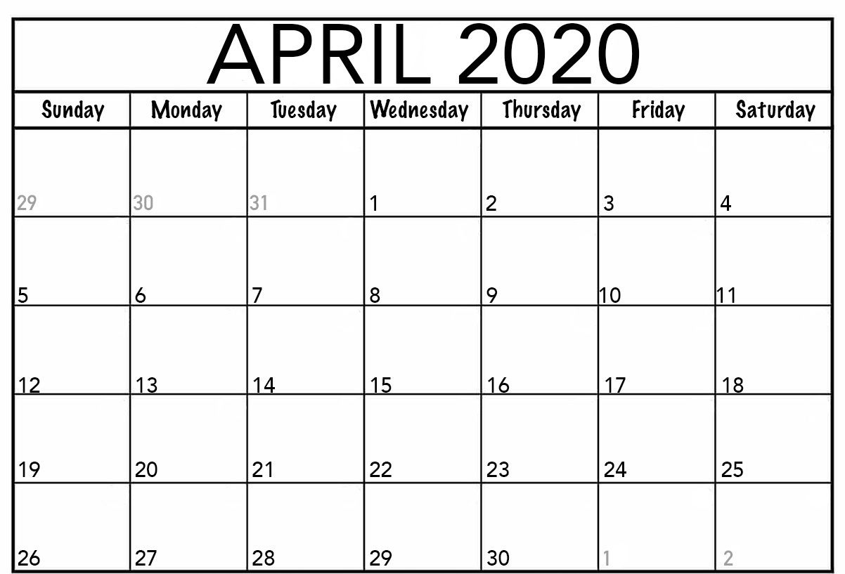 Free April Calendar 2020 Free Printable Template Pdf Word Excel