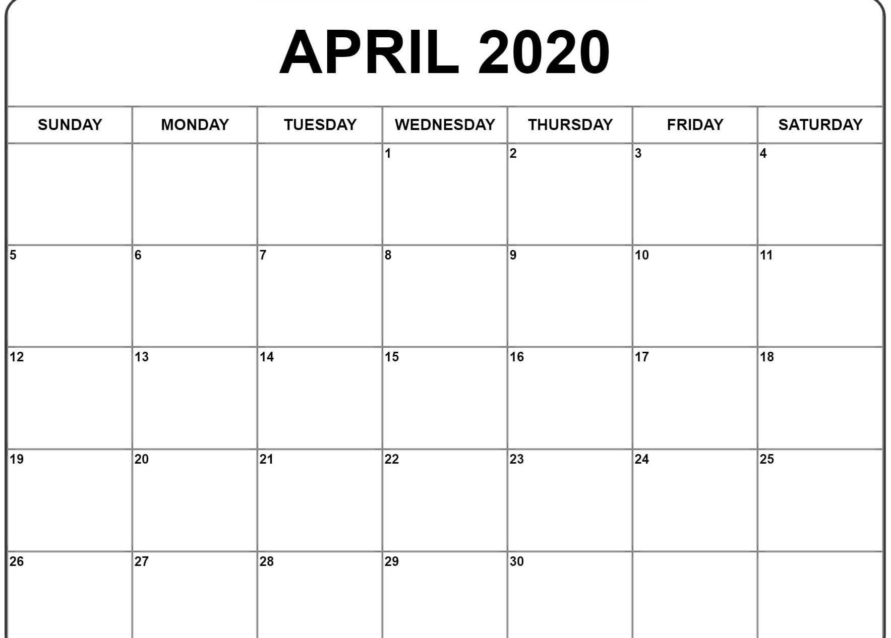 Free April Calendar 2020 Free Printable Template Pdf Word