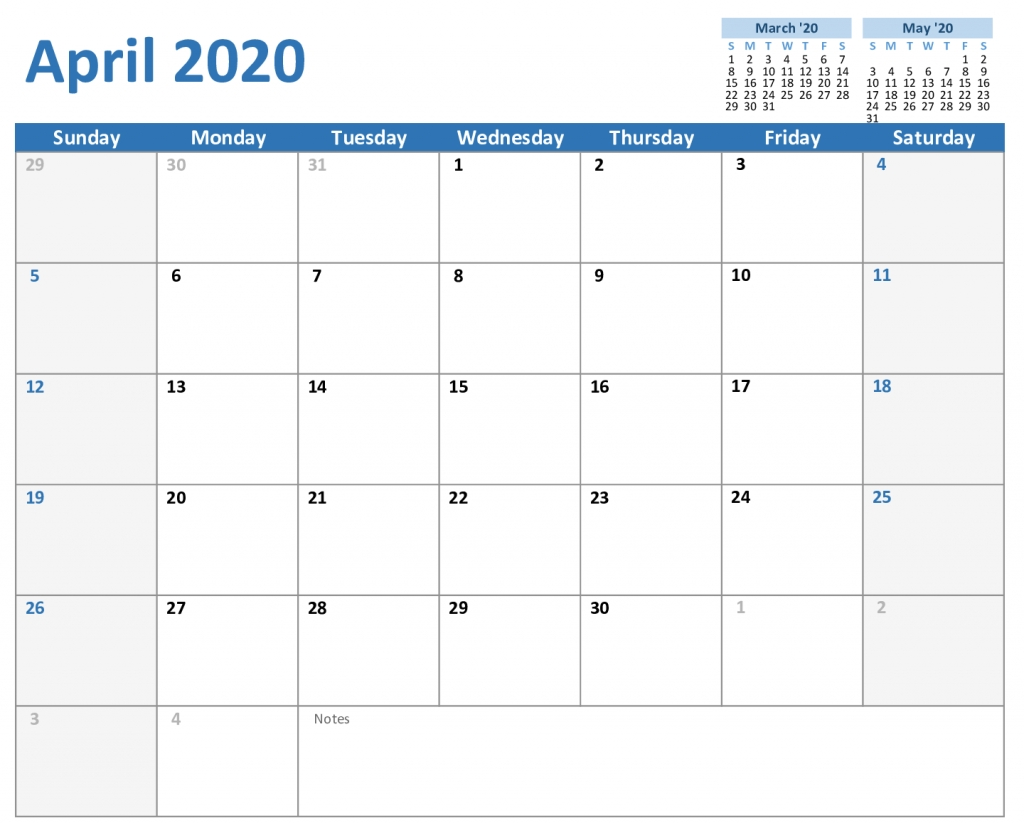 Free April Calendar 2020 Printable Editable In Pdf, Word