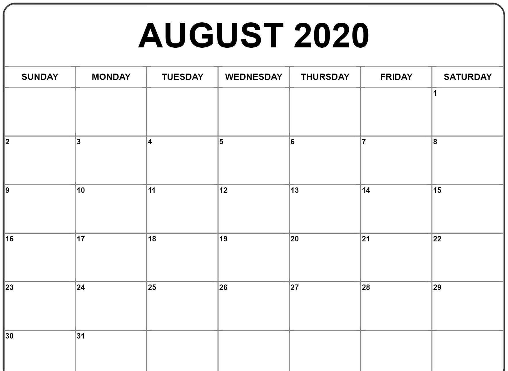 Free Blank August 2020 Calendar Fillable Printable Template