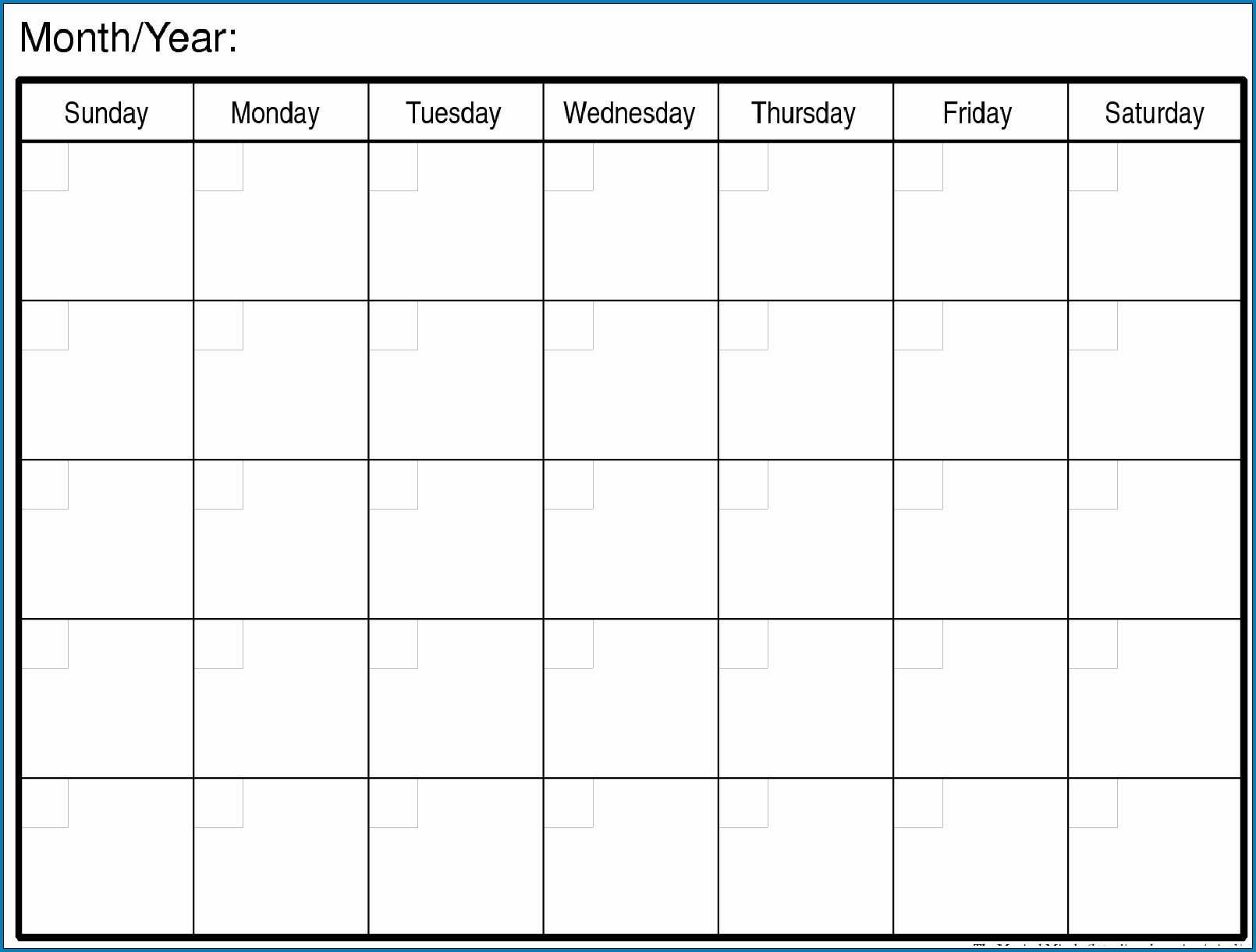 Free Blank Printable Monthly Calendar Monday – Friday