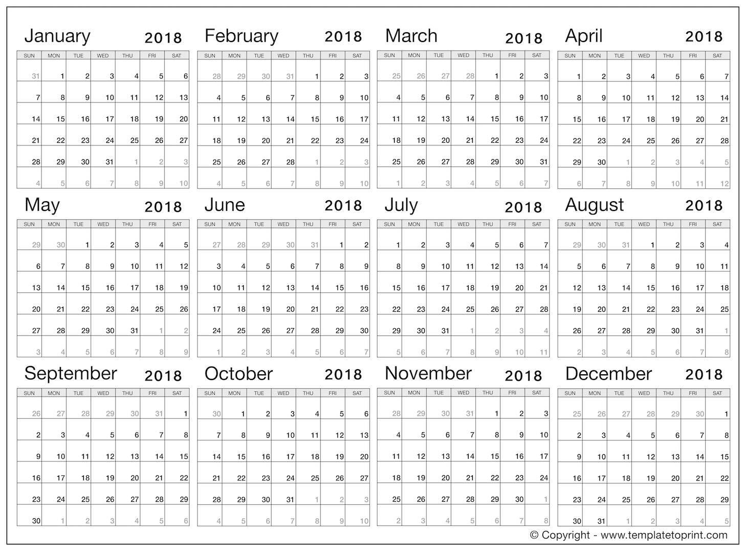 Free Calendar 2018 Printable Pdf | January February March April