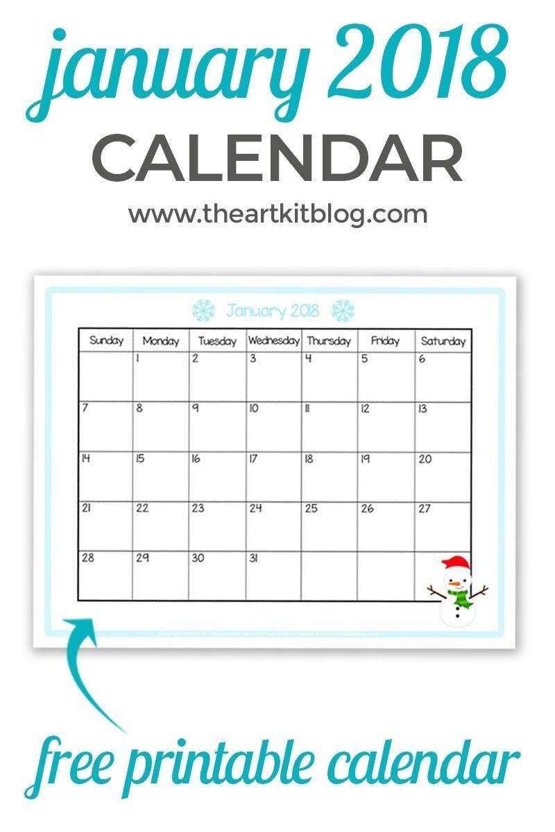 Free Calendar Printable - Great For Kids {January 2018