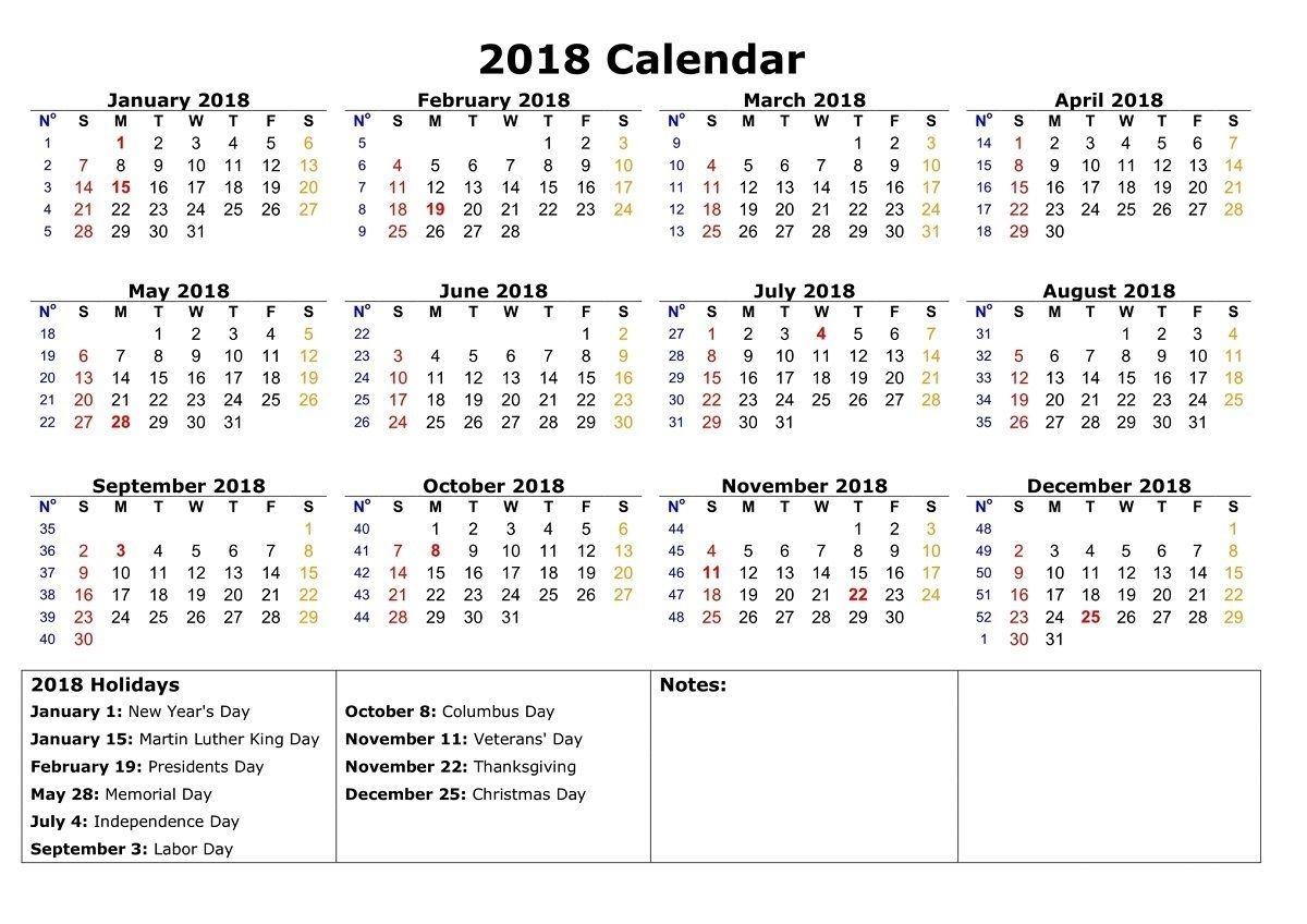 Free Calendars 2018 Printable | Printable Calendar Template