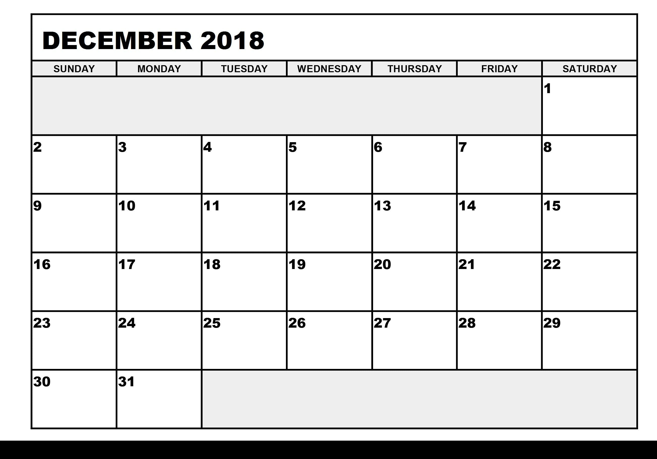 Free December 2018 Calendar Printable In Pdf | Daily