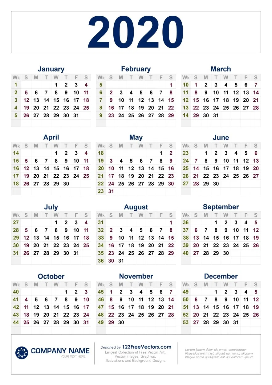 Free Download 2020 Calendar With Week Numbers | Calendar