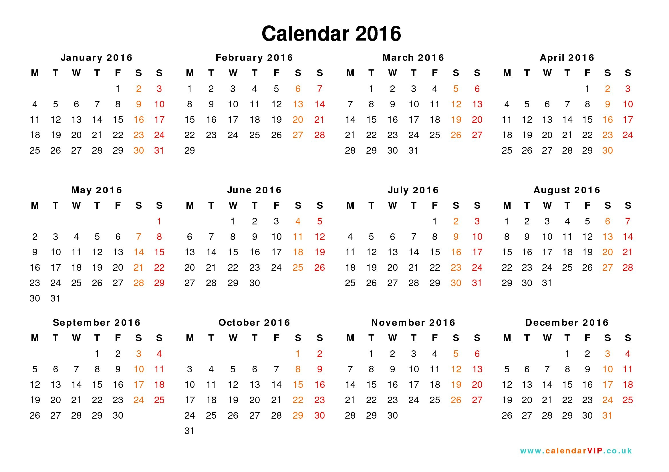 Free Download Free Printable 2016 Yearly Calendar Printable