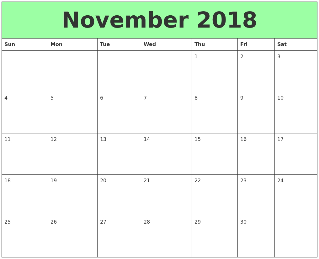 Free Download Printable Calendar November 2018 Without