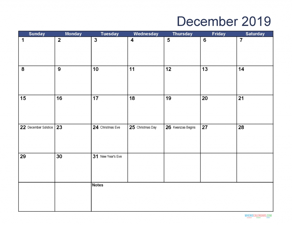 Free Download Printable December 2019 Calendar With Holidays