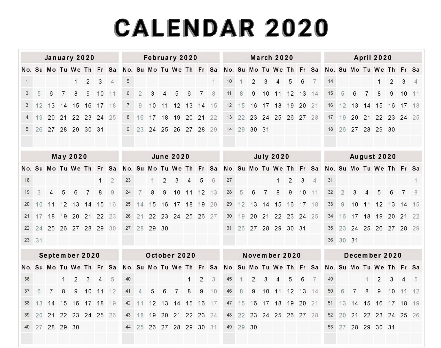Free Editable 2020 Calendar Printable Template (With Images