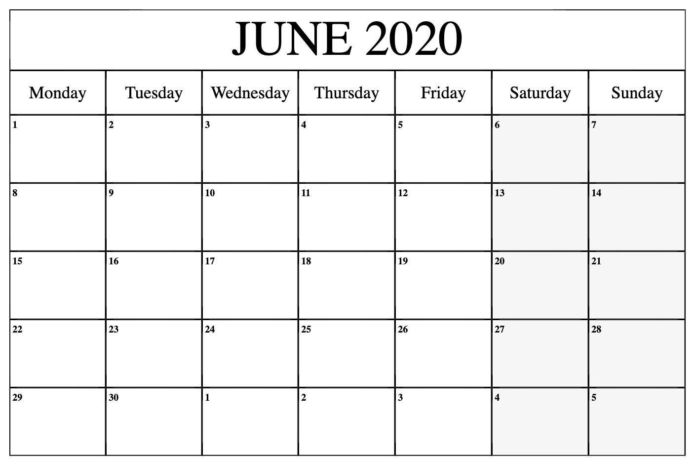 Free Editable June 2020 Calendar To Print Pdf Word Blank