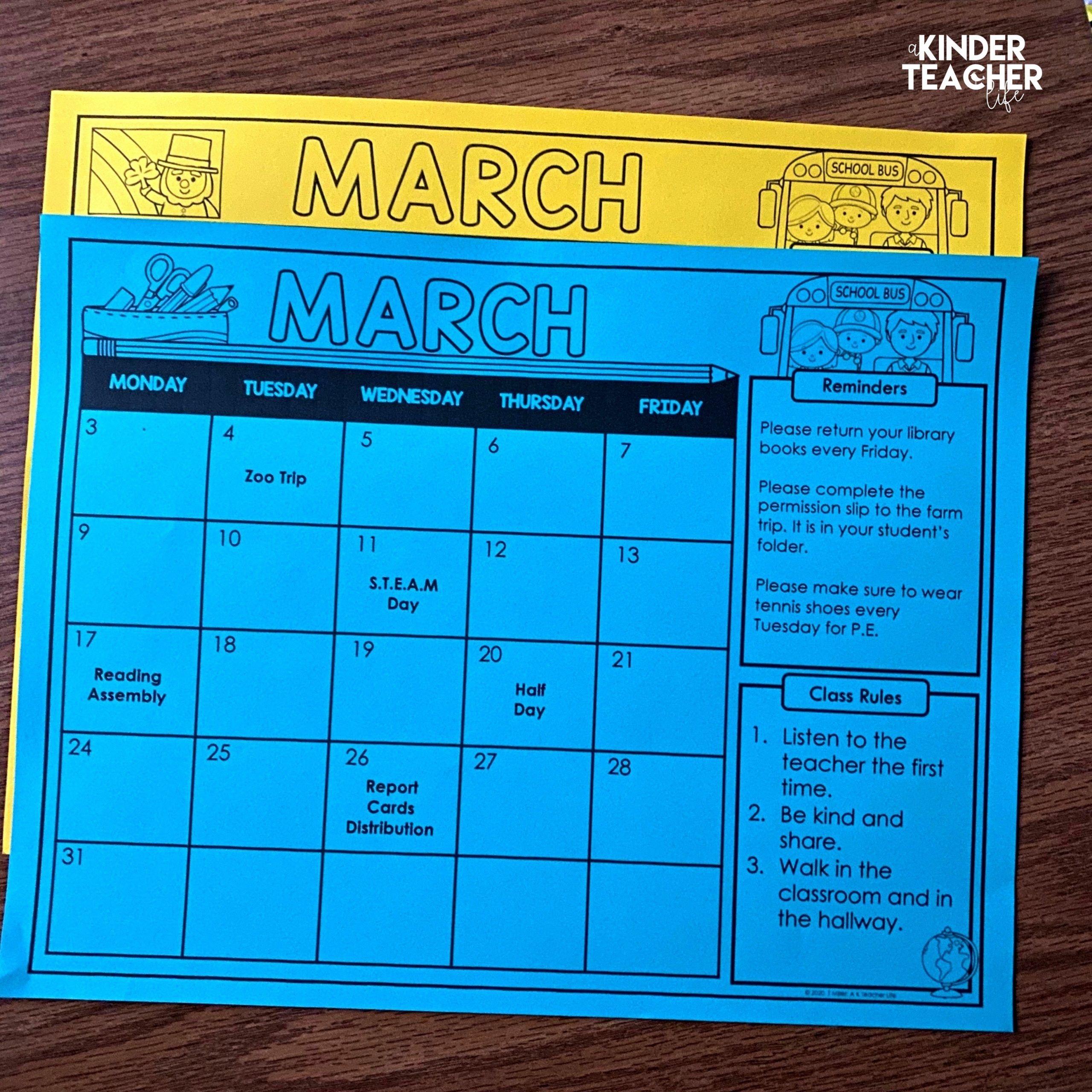 Free Editable Monthly Class Calendars - A Kinderteacher Life