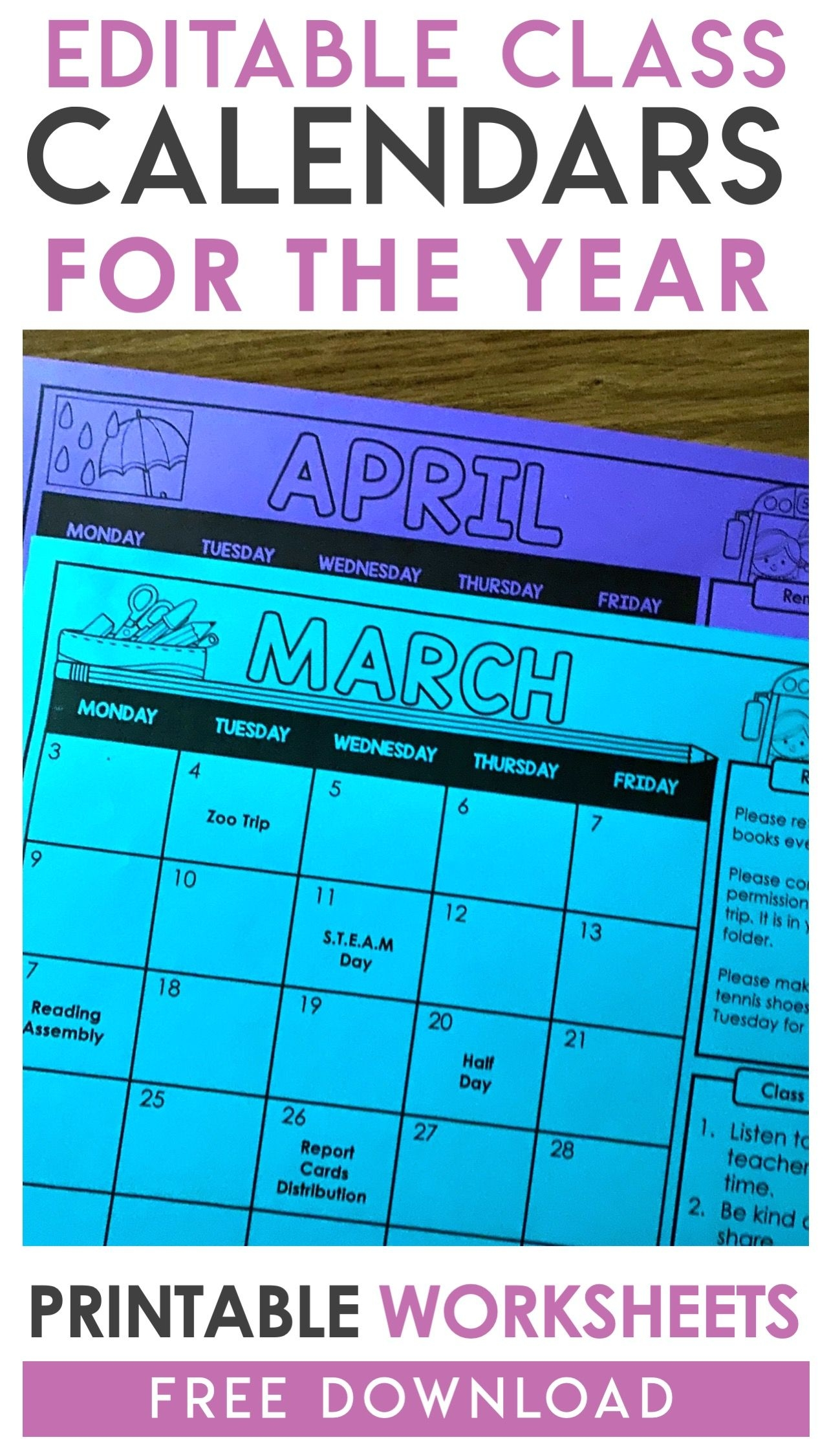Free Editable Monthly Class Calendars - A Kinderteacher Life