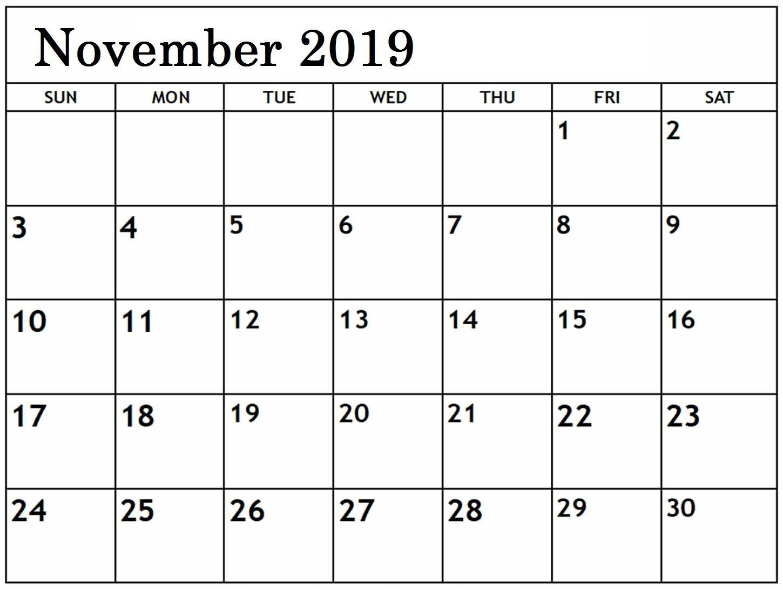Free Editable November Calendar 2019 Blank Template