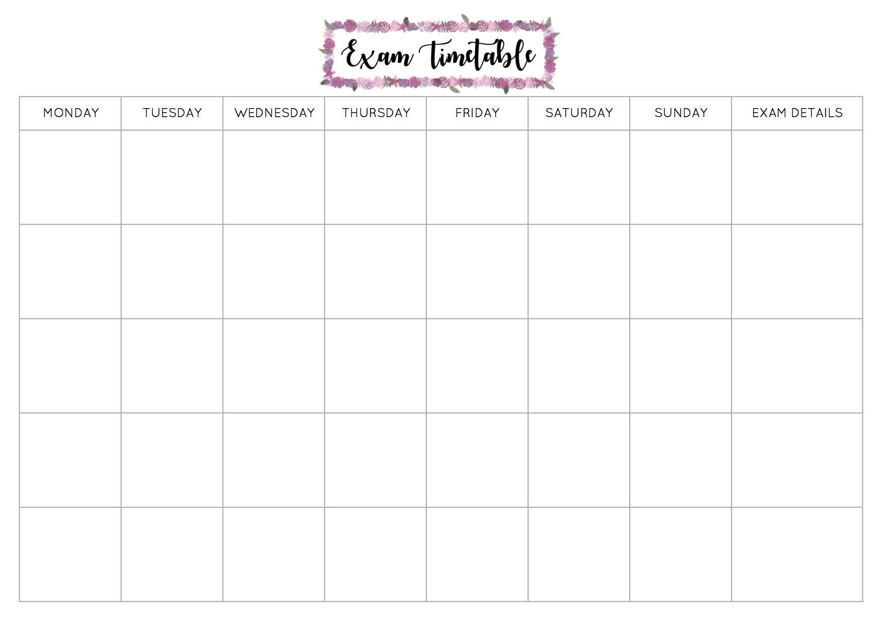 Free Exam Timetable Printable | Study Schedule Template